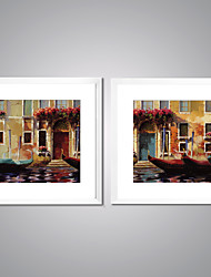 Framed Canvas Prints Landscape Oil Painting Picture Print on Canvas Modern Artworks with White Frame for Livingroom Decoration