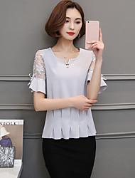 T-shirt redondo curto sleeved fêmea do pescoço do t-shirt do pescoço da camisa coreana nova do chiffon do laço da forma 2017 do verão do
