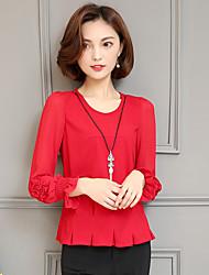 Sinal camisa vermelha chiffon camisa feminina 2017 primavera e verão coreano nova camisa de mangas compridas slim tops mulheres