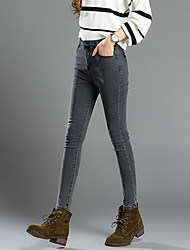 Sign 2016 autumn new gray smoke was thin stretch pencil pants feet pants tight jeans