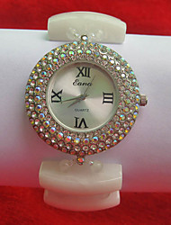 Women's Fashion Watch Simulated Diamond Watch Quartz Jade Band White