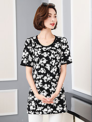 Spring and summer new large size women loose short-sleeved t-shirt printing was thin blouses