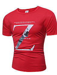 Men's Sports Going out Casual/Daily Holiday Sexy Simple Street chic T-shirt,Print Round Neck Short Sleeve Cotton Polyester