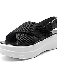 Damen-Sandalen-Lässig-PU-Keilabsatz-Komfort-Schwarz