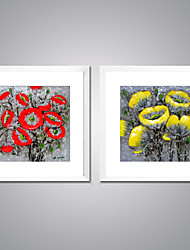 Framed Canvas Prints Yellow and Red Poppy Flower Painting Picture Print with White Frame  for Wall Decoration