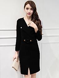 2016 осень женщины&# 39, S новый с длинными рукавами лацкане тонкий был тонкий корейский дамы мешок бедра юбка карьеры пассивом