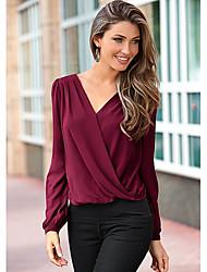 après des modèles d'explosion amazon aliexpress eaby web en mousseline de soie de couture de dentelle chemise à manches longues sauvage