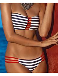 Women's Bandeau Bikini,Solid Acrylic Spandex Animal Print