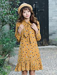 assinar primavera fishtail impressão coreano soltas pequenas mulheres vestido floral chiffon impressão saia de base de mangas compridas