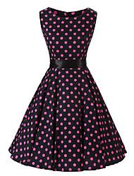 Women's Rockabilly Vintage DressBlack Pink Polka Dot Round Neck Knee-length Sleeveless Cotton All Seasons Mid Rise