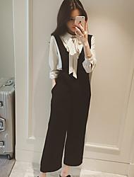 осень нового дикой талия широкий ноги галстук комбинезоны девять очков случайных брюк женской сиамских