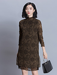 Women's Casual/Daily Tunic Dress,Solid Stand Knee-length Long Sleeve Rayon Spring Summer Mid Rise Micro-elastic Thin