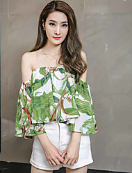 Women's Casual/Daily Simple Blouse,Floral Embroidered Strapless Long Sleeve Silk Thin