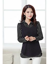 2017 novas mulheres&# 39; s shirt grande tamanho falso de duas listrada de manga comprida solta costura verdadeiro tiro
