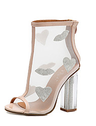 The new tide of high-heeled shoes women European fashion runway slipper is thick with transparent sandals