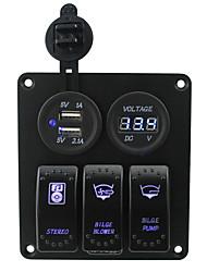bleu iztoss conduit 3 bandes panneau de commande 5pin à bascule avec 5v 3.1a (2.1a1a) kits usb double et câblage voltmètre 12v DC12V / 24v