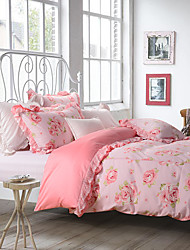 turqua ROSES 100% Cotton Classic Bedding Set Duvet Cover Set 4pcs Comforter Case Pillowcase Flat Sheet