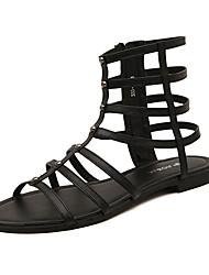 Women's Sandals Summer Gladiator PU Casual Flat Heel Zipper