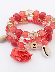 Charm Bracelet Strand Bracelet Alloy Acrylic Glass Flower Fashion Bohemia Women's Jewelry 1set