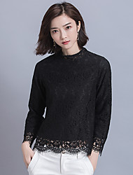 Sign 2017 spring new Korean women lace blouse was thin loose