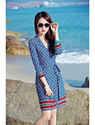 Women's Beach Vintage Sheath Dress,Geometric V Neck Above Knee Long Sleeve Silk Spring Summer High Rise Inelastic Thin