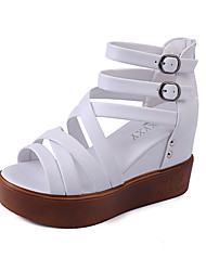 Women's Sandals Spring Summer Gladiator PU Party & Evening Dress Casual Wedge Heel Beading Buckle