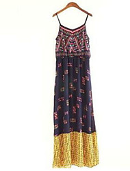 Women's Casual/Daily Loose Dress,Floral Strap Above Knee Sleeveless Acrylic Summer Mid Rise Inelastic Thin