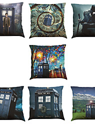Set of 7 TARDIS Mystery Doctor Pattern Linen  Cushion Cover Home Office Sofa Square  Pillow Case Decorative Cushion Covers Pillowcases