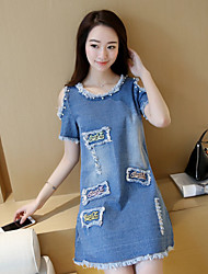Women's Off The Shoulder Loose denim dress version of the long section was thin short-sleeved denim skirt fashion A-line dress