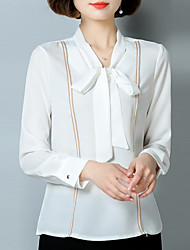Women's Going out Street chic Spring Blouse,Solid V Neck Long Sleeve Polyester Medium