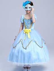 Ball Gown Tea-length Flower Girl Dress - Polyester Tulle Flocking Square with Bow(s) Flower(s) Sequins Ruffles