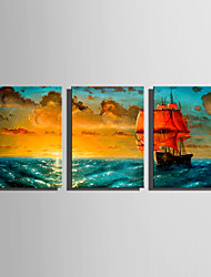 E-HOME Stretched Canvas Art Sailing Red Sailboat Decoration Painting Set Of 3
