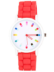 Women's Fashion Watch Chinese Quartz Silicone Band Casual Black White Blue Red