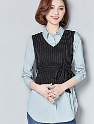 Mujer Simple Casual/Diario Camisa,Escote Chino Estampado Manga Larga Rayón