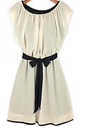 Summer new European and American women flounced sleeves bow waist chiffon dress was thin skirt