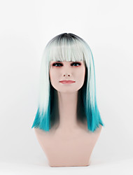 Fashion Women's Wig the latest gradient silver grass Ice blue in the new Omber Straight Bangs New short hair high emperature wire wig