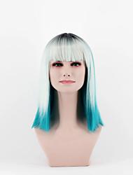 Женская мода парик последнего градиент серебро травы голубого лед в новом omber прямых челок новый короткие волосы высокого парик провода