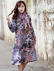 Mulheres étnicas 2017 primavera nova impressão de algodão pescoço redondo vestido de mangas compridas paisagem design feminino