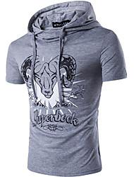 Herren Druck Einfach Street Schick Lässig/Alltäglich T-shirt,Mit Kapuze Sommer Kurzarm Baumwolle Dünn