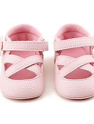 Kids' Sandals Summer Flower Girl Shoes First Walkers PU Wedding Party & Evening Dress Casual Flat Heel Applique