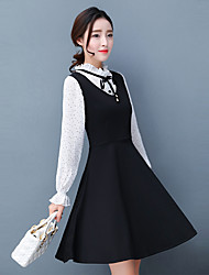 Sign spring new Slim collar long-sleeved dress was thin fake two long section of a chiffon dress female