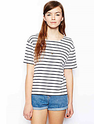 EBAY AliExpress hot new female striped shirt navy wind round neck loose short-sleeved T-shirt female