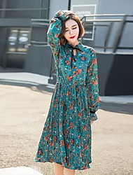 Early spring 2017 new Korean long-sleeved chiffon floral dress was thin waist pleated skirt bottoming Slim