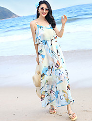 Sign Summer bohemian beach skirt waist chiffon dress sling