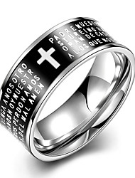Concise Black Color Titanium Steel Cross Figure Eternity Band Wedding Ring Jewellery for Women Accessiories
