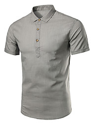 Men Fashion Casual Cotton Linen Large Size Short Sleeve Shirt