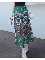 Damen Hohe Hüfthöhe Ausgehen Knielänge Röcke Stifte Blumen Sommer
