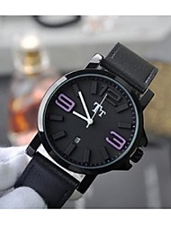 Unisex Fashion Watch Quartz Leather Band Black