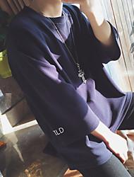 Hombre Simple Casual/Diario Verano Camiseta,Escote Redondo Un Color Otro Fino