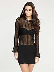 Women's Going out / Casual/Daily Sexy / Street chic See-through Blouses Spring / Fall T-shirtSolid Crew Neck Long Sleeve Medium